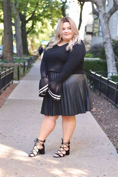 Plus Size Faux Leather Pleated Skirt   Plus Size Leather
