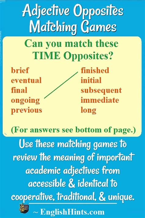 Advanced Adjective Opposites Matching Games