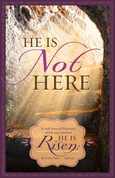 """Church Bulletin 11"""" - Easter - He Is Not Here (Pack of 100)"""