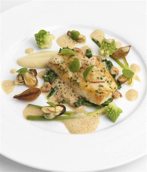 Seared turbot with celeriac, brown shrimp, mussels and