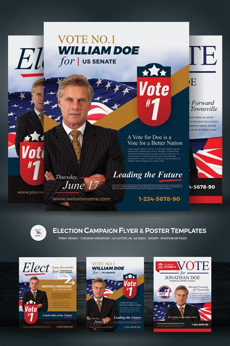 Election Campaign Flyer and Poster PSD Template #67468