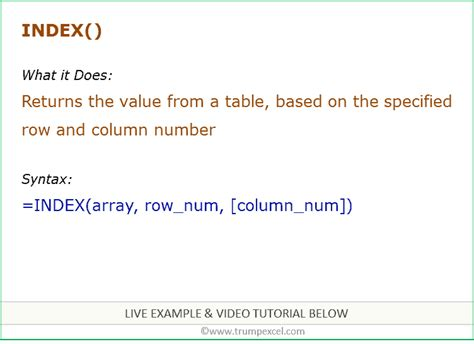 Excel INDEX Function   Formula Examples + FREE Video